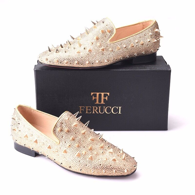 Men FERUCCI gold Spikes  Slippers Loafers Flat With Crystal GZ Rhinestone