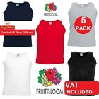 5 Pack Hombre Fruit of the Loom Liso deportivo camiseta camiseta de tirantes