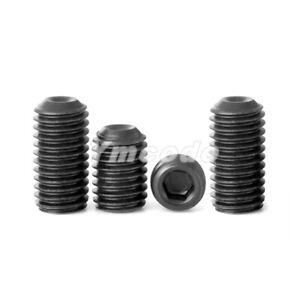 """8#-32x1//8/"""" 12.9 Alloy Steel Hex Socket Set Cap Point Grub Screws Black 50pcs"""