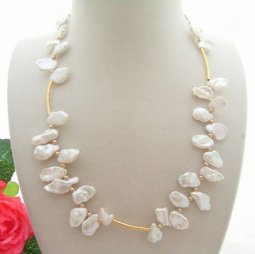 Naturel 14 mm blanc reborn Keshi Pearl Necklace