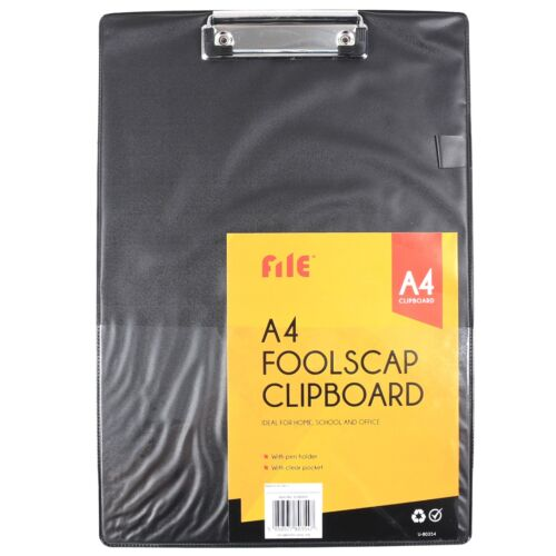 BLACK A4 CLIPBOARD SOLID CLIP BOARD with Pen Holder /& Clear Pocket Foolscap NEW
