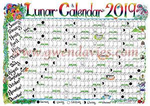 2019 Moon Calendar A4 Wall Chart Planner Poster Year Lunar Gwen