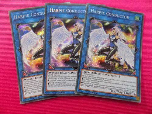 3 x HARPIE CONDUCTOR BLHR-EN047 SECRET YUGIOH CARDS *NEW /& MINT*