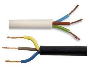 BLACK WHITE 3 CORE ELECTRICAL FLEX FLEXIBLE CABLE WIRE 240 VOLT 5 ...