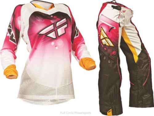 Fly Racing Kinetic Women/'s Girl/'s Pink//White OTB Pants /& Jersey Motocross Gear