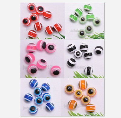 Wholesale 60Pcs Charm Acrylic Evil Eye Round Beads 6 Color 8mm