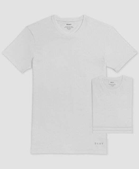 $85 Dkny Men's White Short Sleeve Cotton Crew-Neck Tagless T-Shirt 4-Pack XL