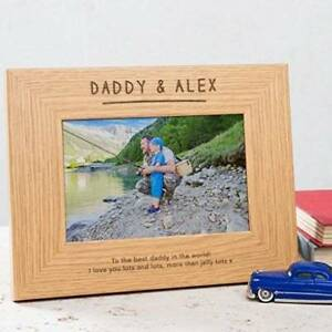 Personalised Daddy Christmas Gift Engraved Photo Frame from Son and Daughter