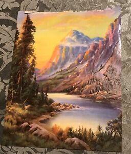 Vintage-Embossed-Mountain-Landscape-Paper-Print-8-X-10-Bright-Color