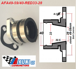 Universal Fit Mikuni Mounting Flange ASSY 33-28mm Tapered ID 40mm Boot ID