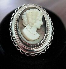 Victorian Revival Carved Mother Of Pearl Abalone Cameo Pendant Lace Edge Rhodium