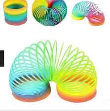 Plastic 6.5cm Rainbow Spring Slinky Toy Type Strechy Springy Classic Kids Gift