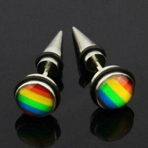 1Pcs-Mode-Regenbogen-Homosexuell-Stolz-Ohrringe-Niet-Edelstahl-Studs-Ohr-U1B8
