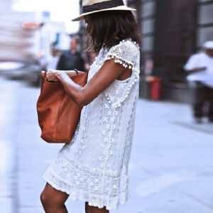Women-Summer-Fashion-Casual-Lace-Sleeveless-Beach-Short-Dress-Tassel-Dress