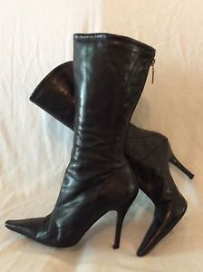 6 Mid River Boots Calf Island Black Leather Size qxwCvRz4
