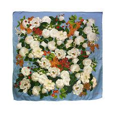 CHANEL Vintage Silk Camellia Floral Print Large Scarf