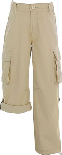 Boy/'s Roll up Multi Pocket Cargo Trousers ages 5-6 Years Natural-100/% cotton