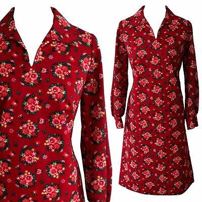 True Vintage Kleid floral Tea Dress Herbst Winter pink Blümchen Flowers 42 44 XL