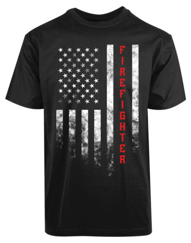 American Flag Fire Fighters New Men/'s Shirt Labor Rescue USA Fire Team Strip Tee