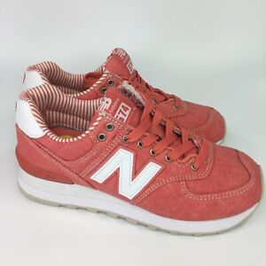 promo code 506cb a3aa6 Details about New Balance 574 WL574CHE Womens Sz 5 Spiced Coral Beach  Chambray Red Pink Run