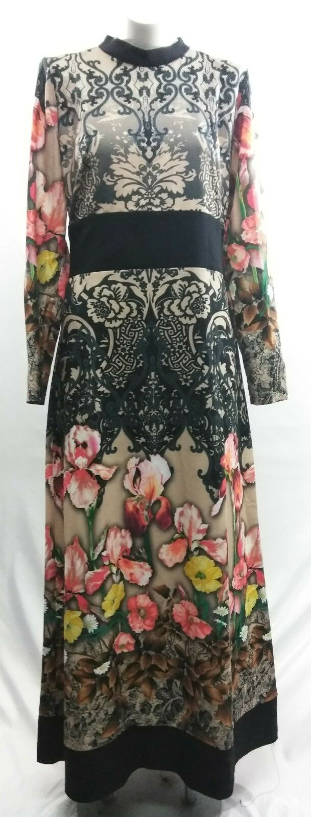 APPLELINE DESENLI ELBISE TAS PRINT LONG SLEEVES BEAUTIFUL DRESS Größe 42(US 4-6)