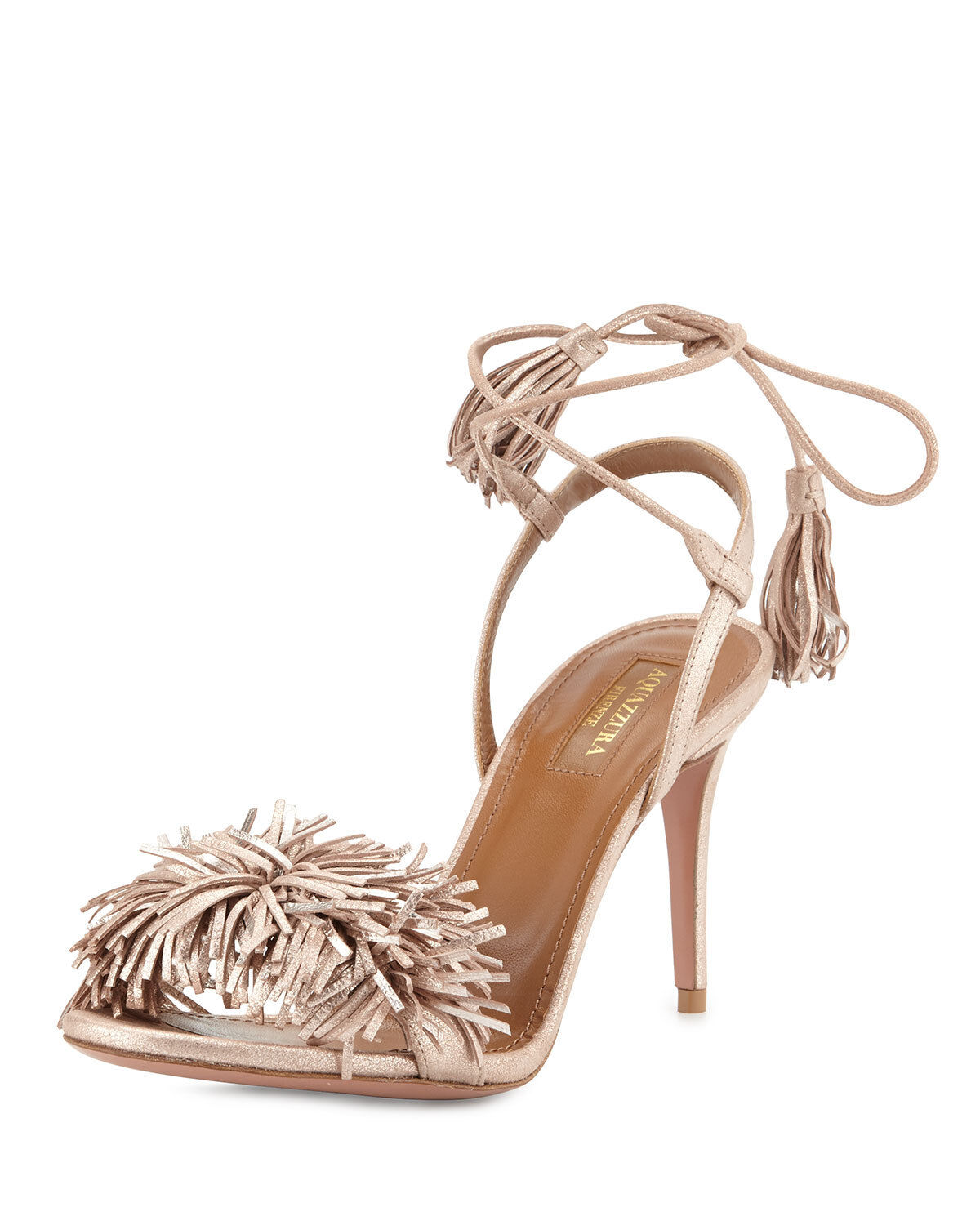 Aquazzura Wild Thing Suede 85mm Sandal, pink gold 36