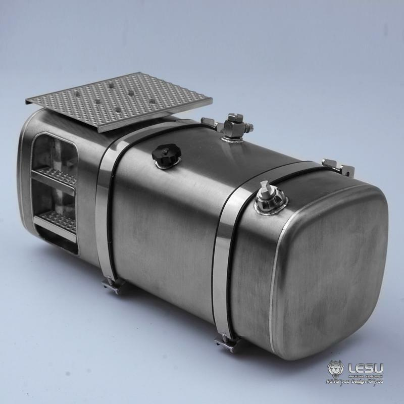Lesu 1 14 Lado Derecho Tamaño 130MM tanque de combustible de metal para las piezas de hágalo usted mismo Tamiya RC Camión