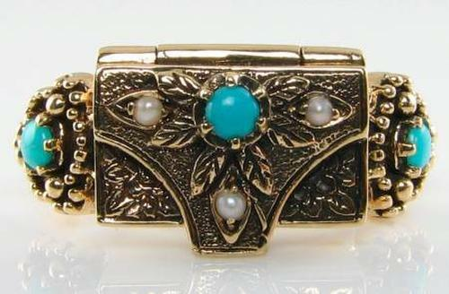 UNUSUAL SOLID 9CT GOLD TURQUOISE & PEARL BOX LOCKET POISON RING