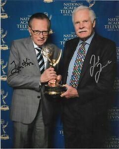 """LARRY KING & TED TURNER AUTO SIGNED 8x10 PHOTO w/COA """"Larry King Live"""" on CNN"""