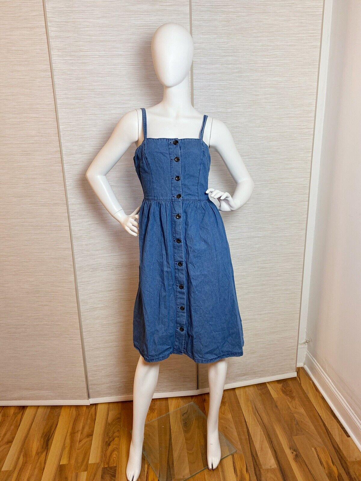 ETAM Paris Jeanskleid Blau Retro Gr 36/38 Jeans Denim Kleid S Wie Neu! France