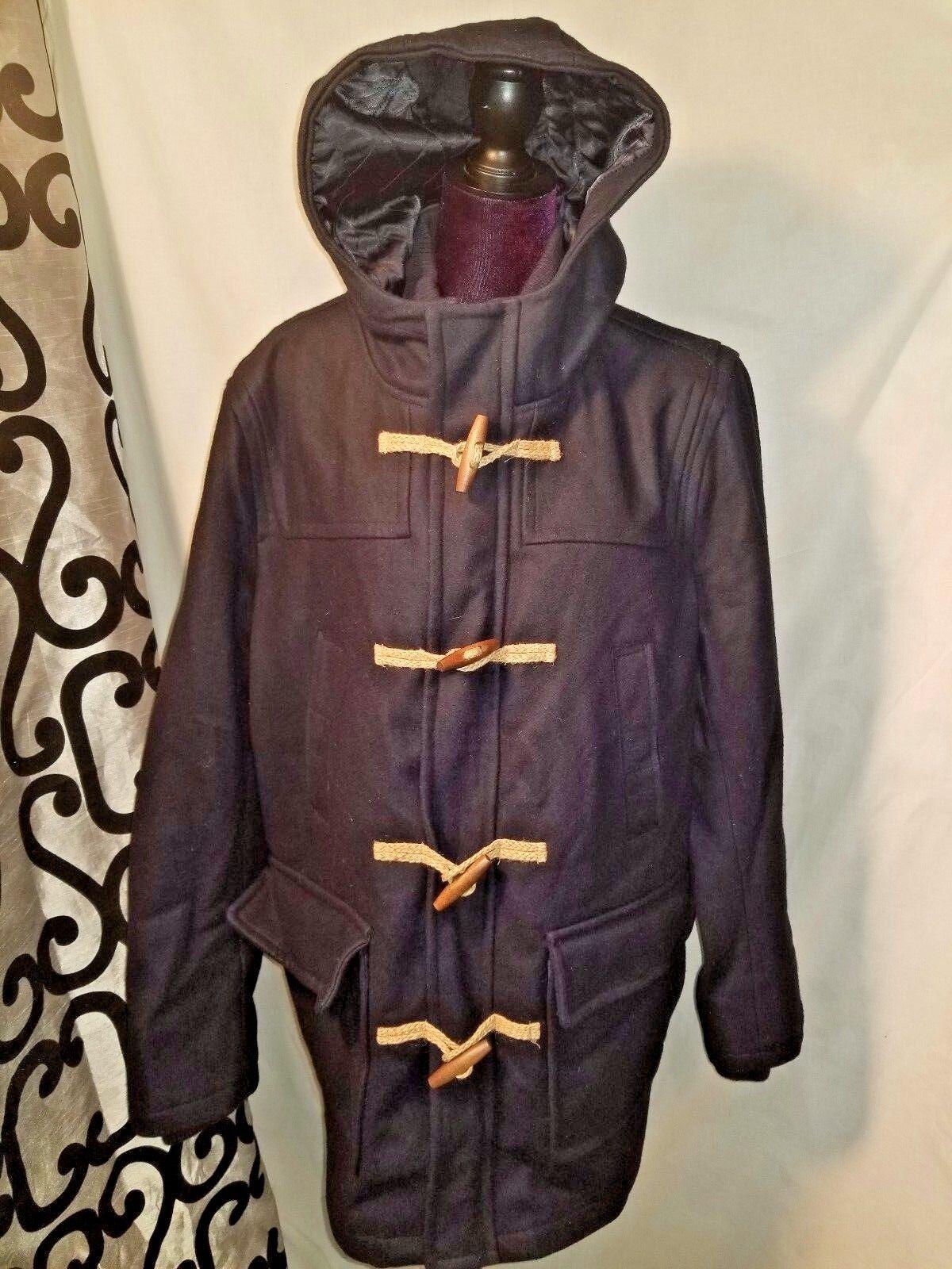 Tommy Hilfiger Men Large WINTER Coat Hood Wool Walking School