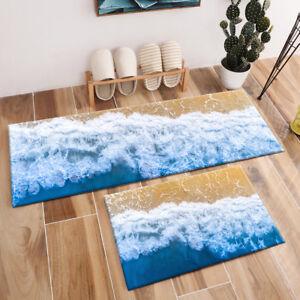 Blue Ocean Beach Sea Wave Area Rugs Bedroom Carpet Kitchen ...