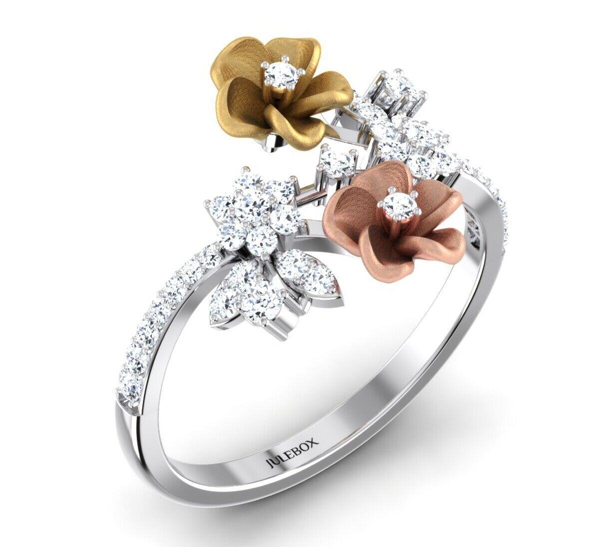 Hallmarked Ladies 9ct White gold & pink gold CZ Engagement Gemstone Jewelry Ring