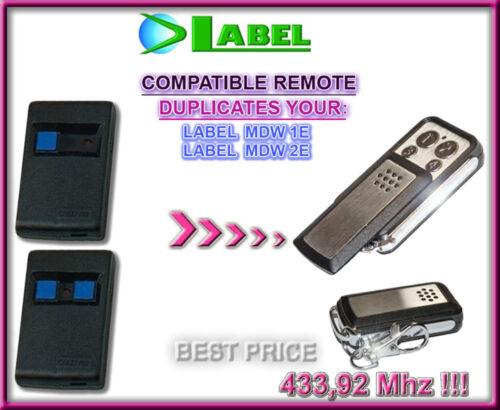 LABEL MDW1E clone 433,92Mhz LABEL MDW2E compatible remote control transmitter