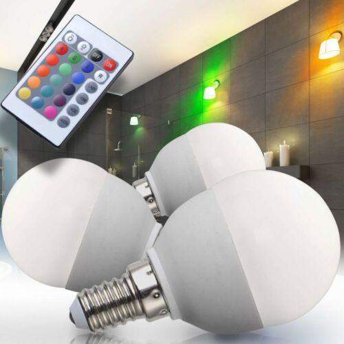 3er Set RGB LED E14 Leuchtmittel 4 Watt dimmbar Glüh Birne Lampe Farbwechsler