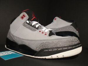 90ed9fc7d28680 NIKE AIR JORDAN III 3 RETRO OG STEALTH CEMENT GREY FIRE RED BLACK ...