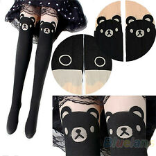 JAPAN TEDDY PRINT THIGH-HIGH SOCKS BEAR TAIL TATTOO TIGHTS PANTYHOSE HOT BG8K