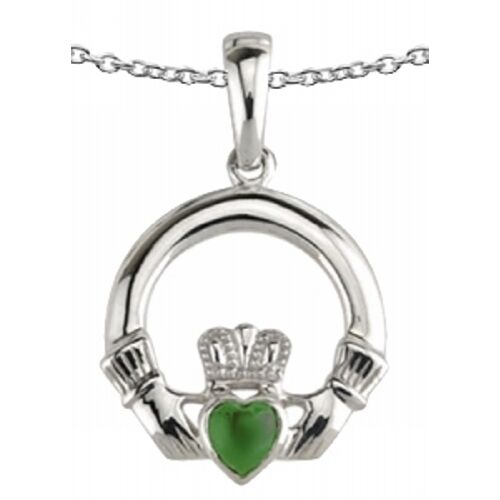 New Celtic Silver and Green Agate Claddagh Necklace Celtic Jewellery