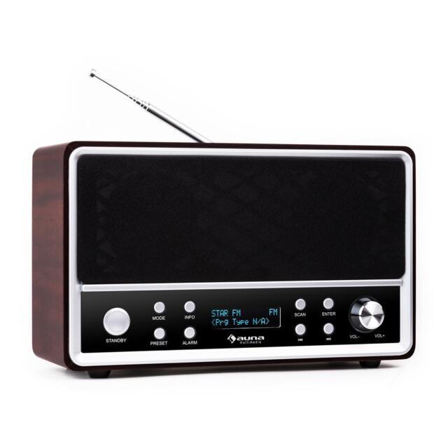 Poste radio DAB+ tuner FM RDS enceinte bassreflex télécommande déco vintage bois