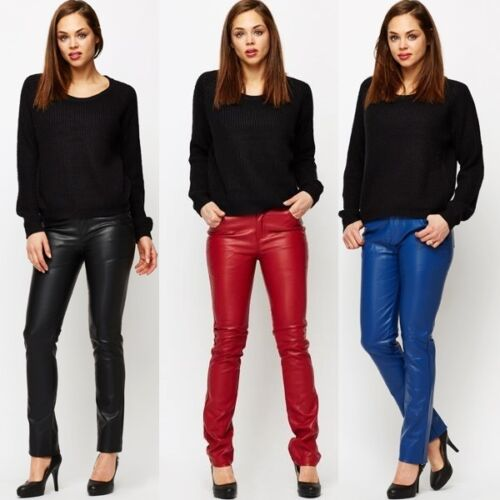 170 BICI Similpelle Skinny Pants MID RISE Nero Blu Rosso Pantaloni Taglia 8 - 14