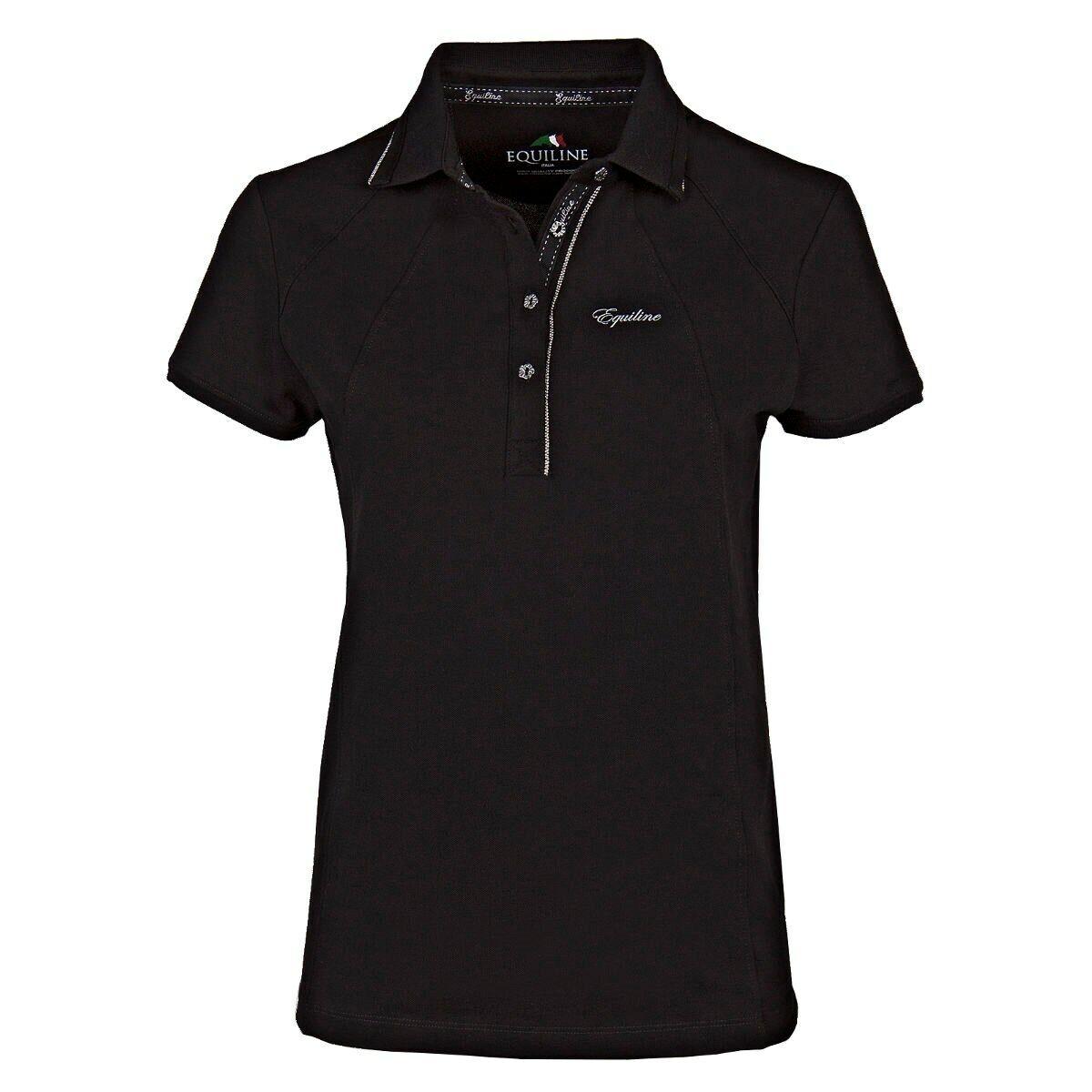 Equiline Premium Laurie Polo Camiseta Top señoras Negro Talla L Manga Corta
