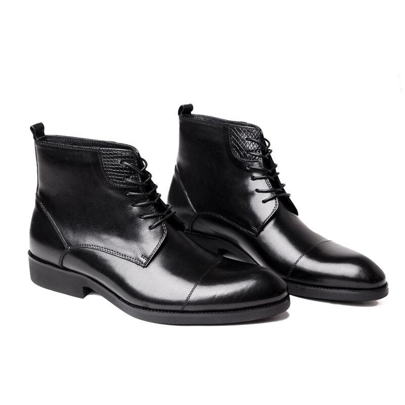 Hombre Cuero Real botas al Tobillo Zapatos Formal Puntera Con Cordones WM7004