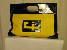 sac cabas vintage EL CORTES INGLES toile tissée cirée jaune et PVC bleu marine