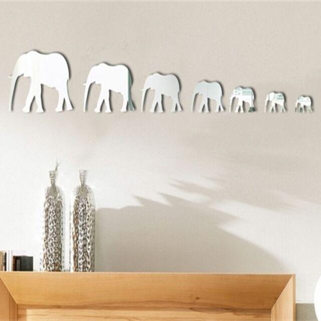 Elephant Modern Acrylic Plastic Mirror Wall Home Decal Decor Vinyl Art Sticker