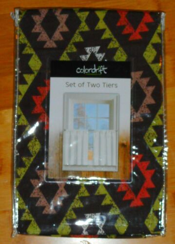 Set Pair 2 Short Cafe CURTAINS TIERS 30 x 24 Brown Green Rustic Southwestern