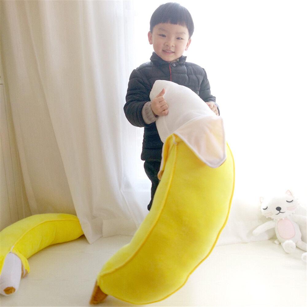 39'' Giant Big Yellow Banana Plush Doll Stuffed Cushion Realistic Pillow Toy New