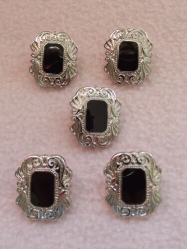5 x BLACK /& SILVER COLOURED ART DECO STYLE OBLONG BUTTONS ~ 36L approx 21mm
