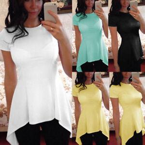 f8ef4da992cb9d Plus Size UK 8-18 Women Short Sleeve Blouse Tunic Peplum Tops Tee ...