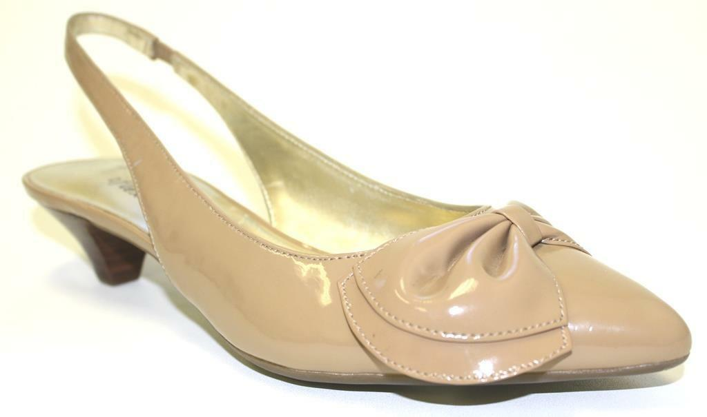Women's Shoes Anne Klein PANSY Slingback Pumps Kitten Heel Bow Patent Md Natural