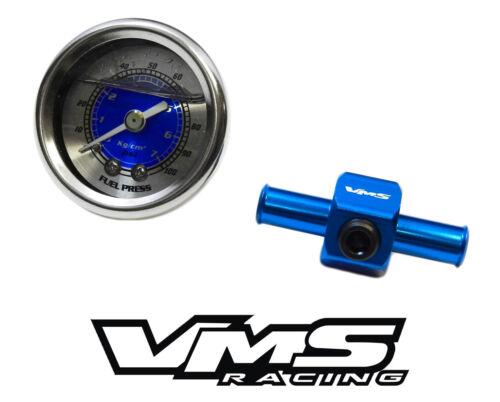 """0-100 PSI RACING FUEL PRESSURE GAUGE /& 3//8/"""" INLINE HOSE END TEE ADAPTER BLUE"""